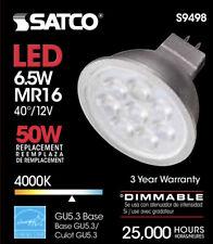 NIB: Set Of 6 Satco S9498 LED MR16 4000K 40' Beam Spread 120V Silver Light Bulbs