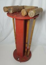 Vintage South Bend Croquet Set Wood Replacement Rack Mallets Indiana