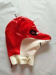 Latex Rubber Hood Anti-Clip Hair Animal Headgear Tight Zip Cosplay 0.4MM S-XXL