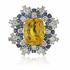 Unique Cushion Cut Canary Yellow 6.1CT Citrine With Blue & White Sapphire Brooch
