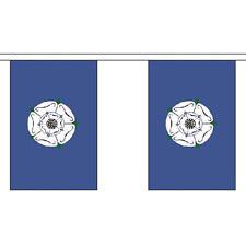 """Yorkshire VECCHIO Bunting 3M lungo con 10 Bandiere 9 """"X6"""" Inglese Contea"""