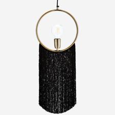 Gold Pendant Round Ring Lamp Long Black Fringe Tassels Modern Boho Ceiling Light