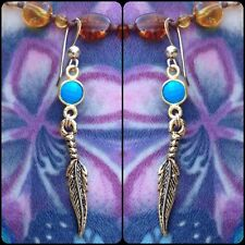 Earrings, Choose Any Gemstone Gold Turquoise Dangling Feather Charm
