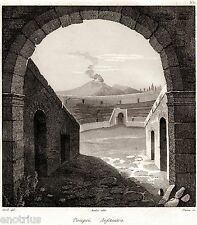 Pompei:Anfiteatro Romano,Vesuvio.Audot.Acciaio.Stampa Antica + Passepartout.1835