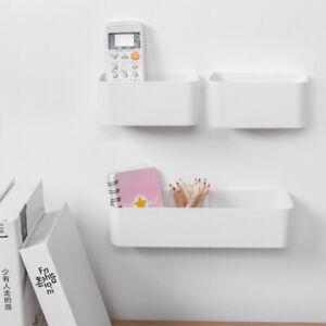 Wall Mounted Self Adhesive Box Bathroom Kitchen Storage Rack Organizer Shelf