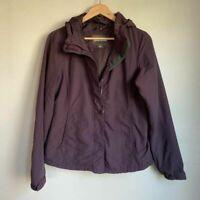 Eddie Bauer Womens Windbreaker Jacket Purple Zip Up Hooded Lined Pockets S