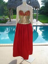 ANN LAWRENCE RED GOLD BEAD SEQUIN CORSET STRAPLESS FORMAL BALL GOWN DRESS Sz 8