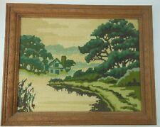 Vintage Framed Needlepoint Landscape