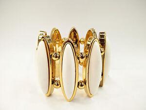 "2.5"" Wide Stylish Gold  Oval Shape Acrylic & Gold Bead  Stretch Bangle Bracelet"