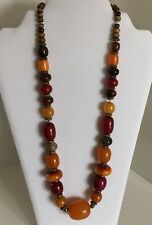 """Vtg Long Honey Brown Bead Necklace Bohemian Jewelry 24"""" Strung Colors Hook"""