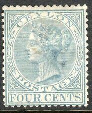 Ceylon 1872-80 grey 4c crown CC perf 14 mint SG122
