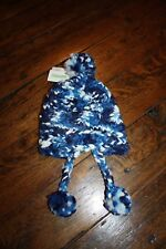 Burton Nana Earflap Cable Hand Knit Toddler Snowboarding Hat Multicolor Blue