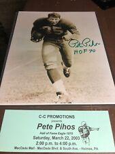 PETE PIHOS INDIANA Philadelphia Eagles AUTOGRAPHED Signed 8 X 10 PHOTO
