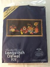 "Vtg STILL LIFE Longstitch Crewel Needlepoint Kit 40118 Wool Sunflowers 40""x18"""