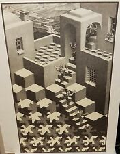 E.C. ESCHER OPTICAL ILLUSION STAIRS VINTAGE BLACK AND WHITE LITHOGRAPH