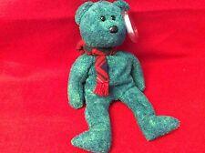 TY WALLACE Beanie Baby - Christmas Irish Bear 1999 GREEN W A RED WOOL SCARF NEW