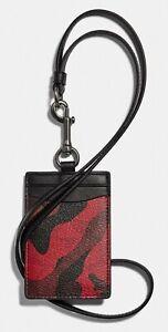 COACH 'Camo Signature Coated Canvas' Unisex ID / Card Holder Lanyard Red **NWT**