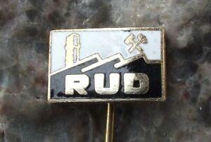 Vintage RUD Rozinka Uranium Mines Atom Crossed Hammers Logo Mining Pin Badge
