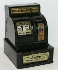 Antique Uncle Sam's Cash Register Coin Bank with Lever & Orig. Uncle Sam Badge