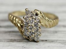 Vintage 14 K Gold .5 Ctw Diamond Cluster Ring Right Hand Pretty Stunner Sz(6)