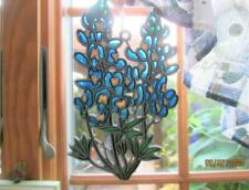 VINTAGE STAINED COLORED CLUSTER OF BLUE FLOWERS & LEAVES SUN CATCHER