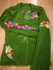 Ladies green corduroy L W Los Angeles jacket embroidery flowers size 8-10