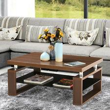 Rectangular Wood Coffee Table Tempered Glass Shelf Living Room Furniture Brown