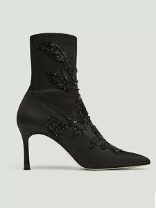 ZARA | Women's Black Stiletto Heel Pointed Toe Ankle Boots | UK 5