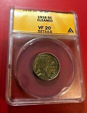 1918 Buffalo Nickel ANACS VF 20 DETAILS CLEANED