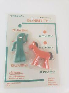Vintage Gumbitty Gumby and Pokey Figure Toy Set Super Flex 1970's Jesco