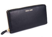 Roberto Cavalli Black Grained Leather Logo Zip around Continental Wallet~RTL$450
