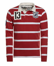 New Mens Superdry Factory Second Gloucester Rugby Shirt Brawl Stripe Red