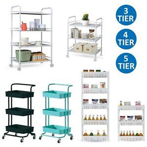 3/4/5 Tier Slim Kitchen Salon Storage Trolley Cart Rack Tray Shelf Rolling Wheel