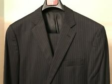 BCBG Attitude 100% Wool  2 Btn Black Pinstripe Suit w/Flat Front Pants 40L