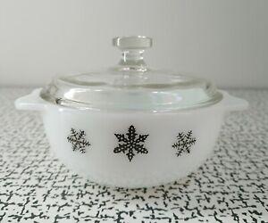50s 60s Vintage Retro JAJ Pyrex Gaiety Snowflake Tiny Lidded Casserole Dish 11cm