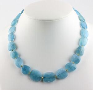 Aquamarine Necklace Precious Stone Faceted Sky Blue Necklace ca.272 Carat /48cm