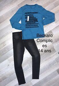 COMPLICES Beckaro 14 Ans Garçon :T SHIRT BLEU   + Jean NEUFS