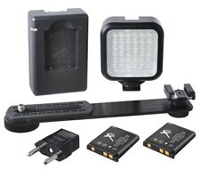 Camera/Video Portable Led Light Kit w/ Rechargeable Batteries,Charger & Bracket