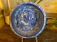 Antique English Blue & White Staffordshire Transferware Bowl Countryside Castle