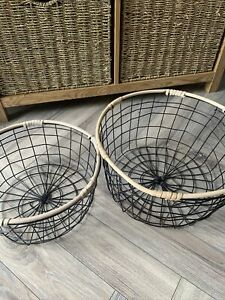 Pair Of Seagrass Edge Round Metal Wire Baskets Collection, Black