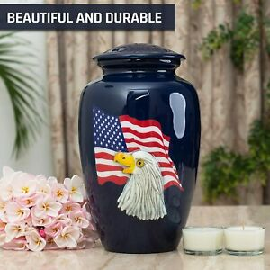 American Flag with Eagle Patriotic Cremation Urns for Human Ashes Adult Urns