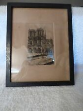 c1915 ETCHING G Schlumberger PARIS NOTRE DAME Hand Tinted Framed