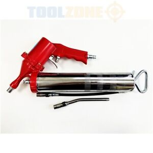 Toolzone Air Grease Gun One-Hand-Lever with Extension Lubricating Garage, 14 oz