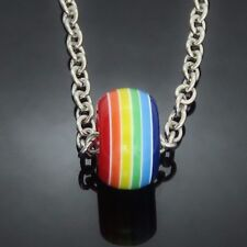Rainbow Doughnut Bead on 70cm Silver Tone Necklace Chain lgbt pride UK SELLER