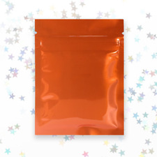 Orange Mylar Bags, Smell Proof Zipper Seal Packaging Bags with Heat Seal Lock