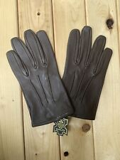 Men's Driving Brown Leather Dress Gloves Size Large