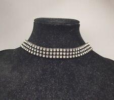 Vintage Rhinestone Studded Mesh Choker Necklace