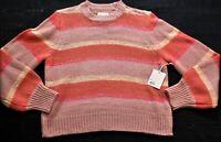 women's Lauren Conrad striped peach & pink sweater glitter size Large RSRP $50