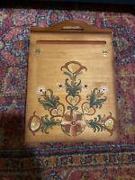 MCM Vintage Hand-Painted Tole Folk Or Rustic Slanted Hinged-Top Wooden Lap Desk