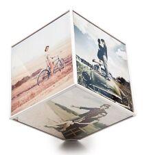 """ROTATING CUBE PHOTO FRAME - White Multi Frame Large KUBE 15x15cm 6"""""""